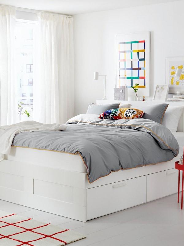 BRIMNES Bed frame w storage and headboard, white/Lönset160x200 cm