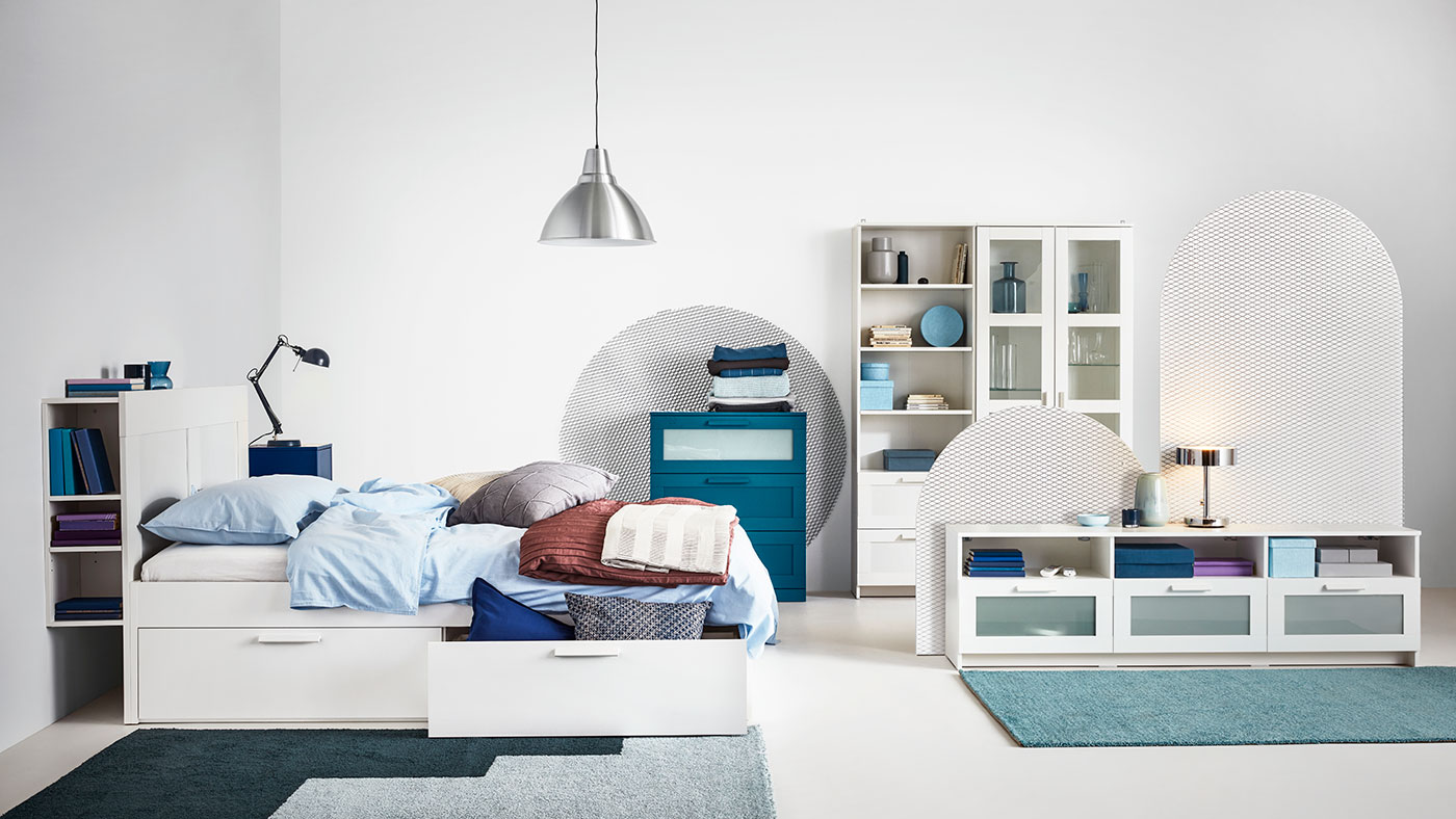 BRIMNES series in a bright and blue room setting.