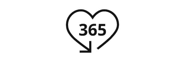 Brojevi 365 u piktogramu oblika srca