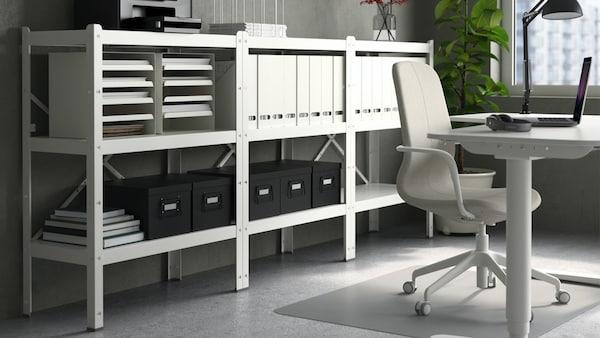 BROR 3 sections/shelves, black, wood, 194x40x110 cm
