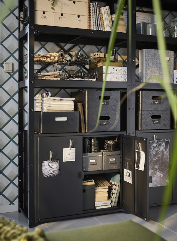 BROR Estantería con armario, negro, 85x40x190 cm