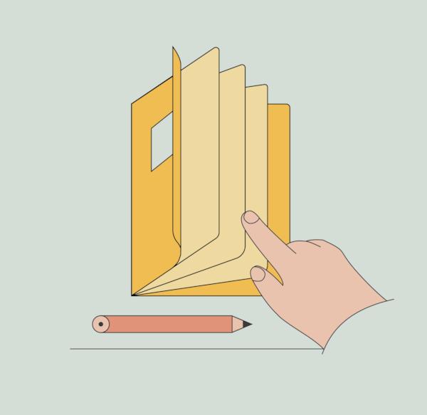 brosura cu ilustrare cu mana si creion