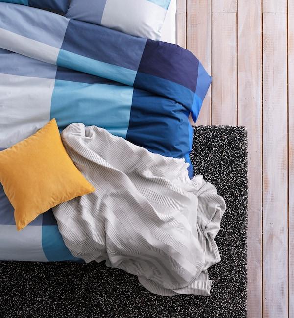 BRUNKRISSLA Housse de couette et taie(s), bleu, gris, Deux places/grand deux places