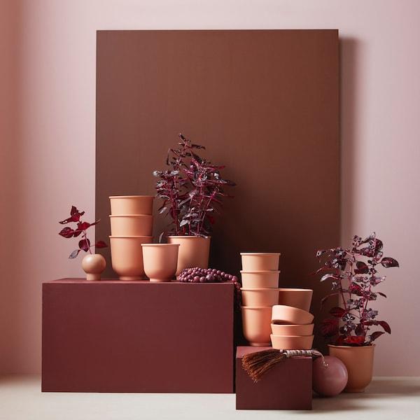 BRYTÄRT Plant pot, red-brown, 12 cm