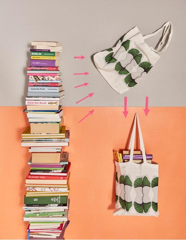 Bücher, die in ANVÄNDBAR Tasche grün/weiß verpackt werden