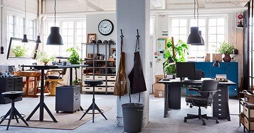 Bureau IDÅSEN, debout 160x80 noir, gris foncé