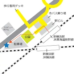 Bus stop at Shinyokohama station