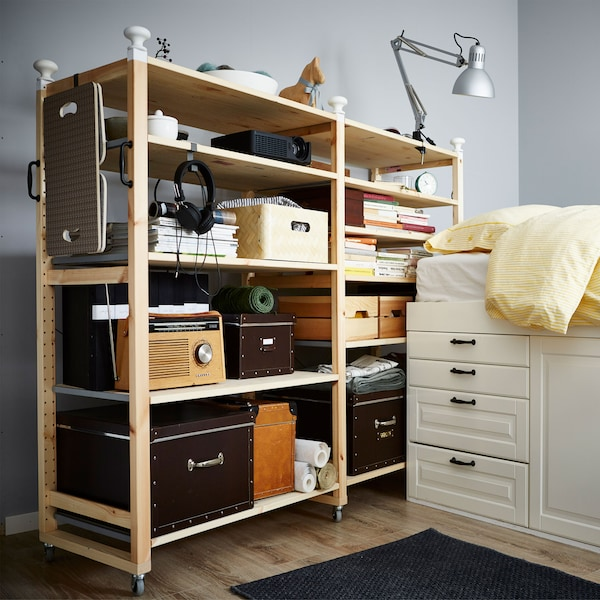 By customising your IVAR shelf with wheels it's easier to move to and store in smaller spaces.