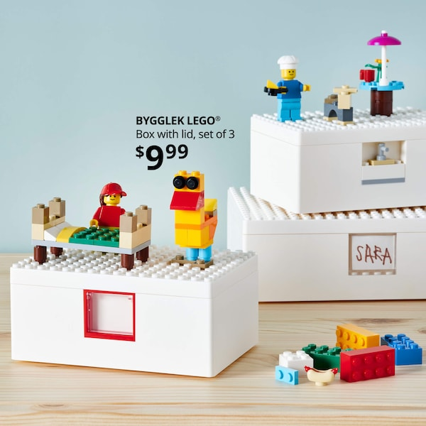 BYGGLEK LEGO(R) Box with lid, set of 3, $9.99