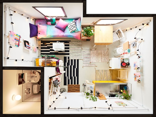 A completely furnished, small apartment (from a bird's-eye view).
