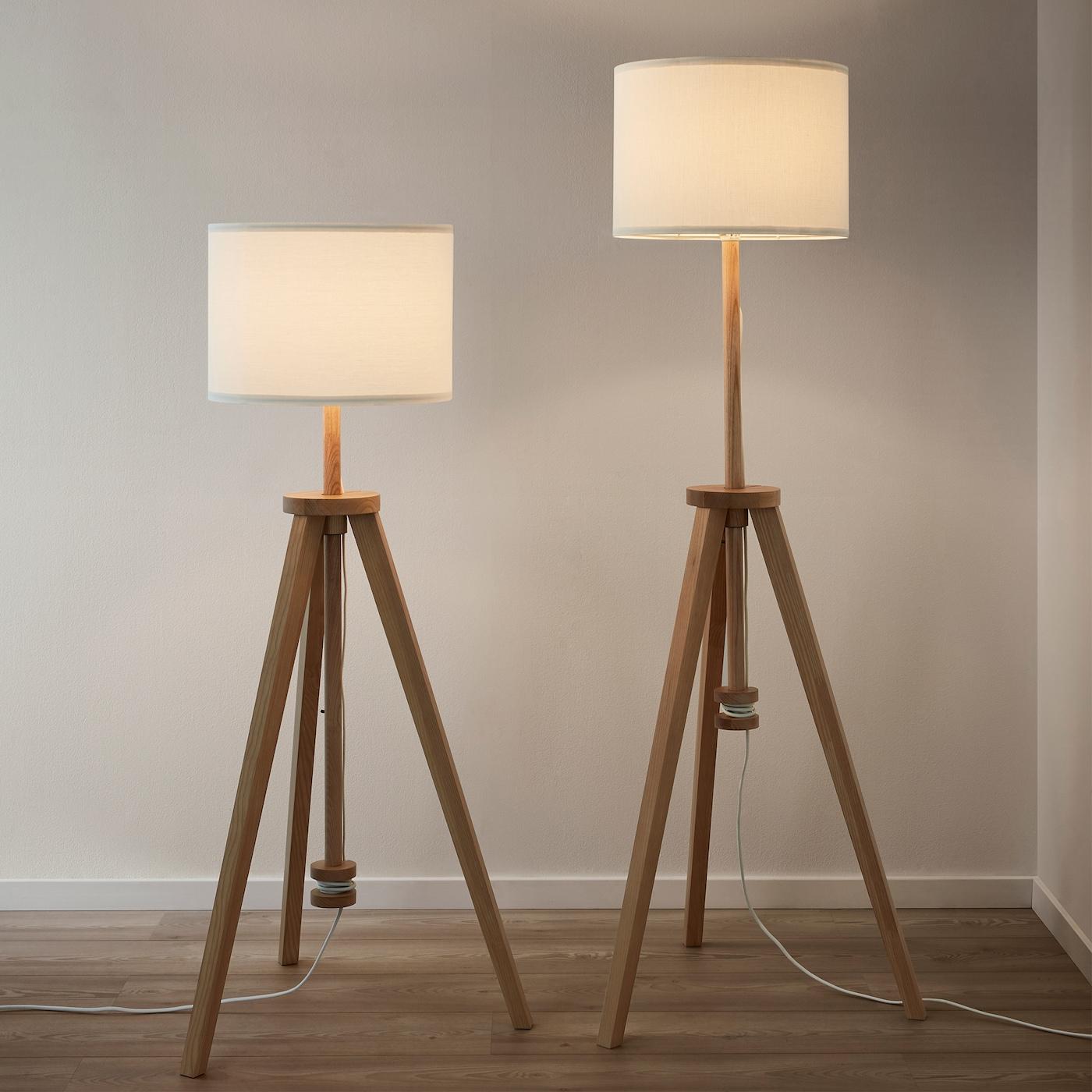 Lampadaire Frêne Blanc Design Scandinave Pieds Réglabe Lauters