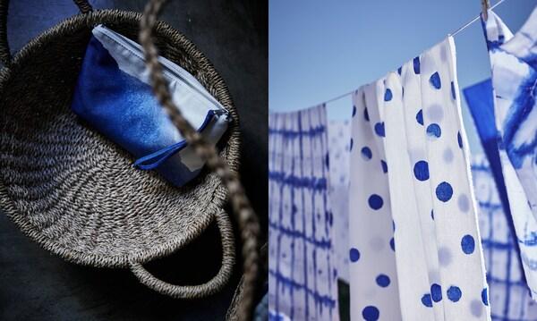 Povlečení TÄNKVÄRD v modré a bílé na prádelní šňůře