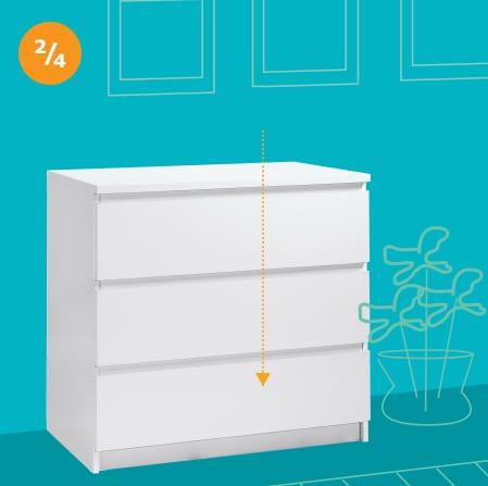 An illustrated white dresser on a blue wall with an arrow pointing to the bottom of the dresser