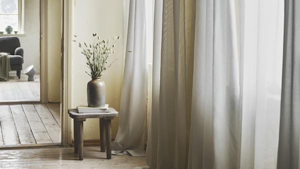 GUNRID Cortina purificadora aire par, gris claro, 145x300 cm