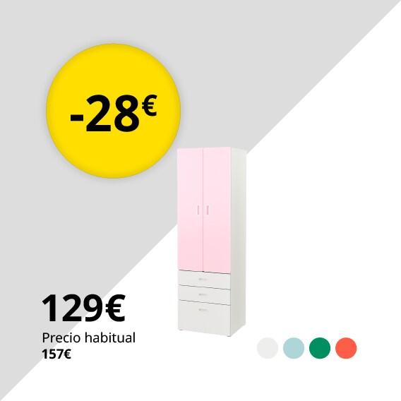 STUVA / FRITIDS Armario, blanco, rosa claro, 60x50x192 cm