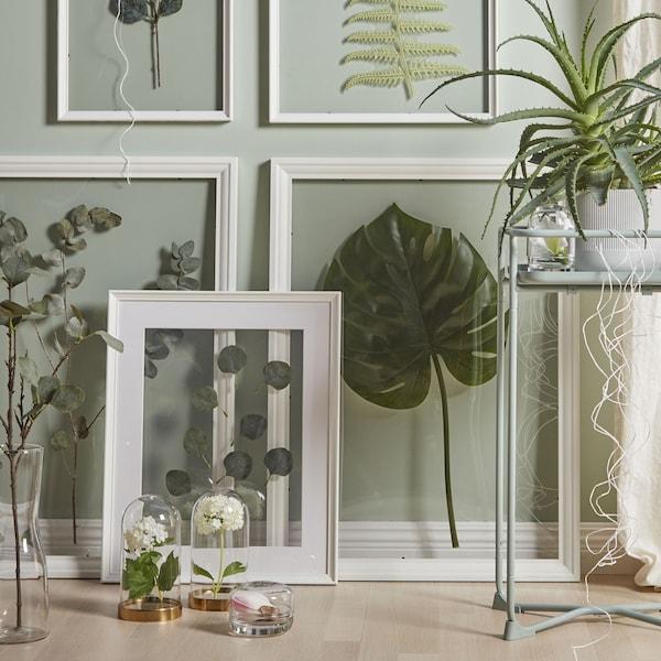 cadre-blanc-bois-50x70cm-edsbruk-avec-plantes