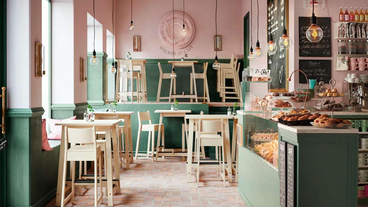 Caffè con tavoli bar e sgabelli bar in legno – IKEA