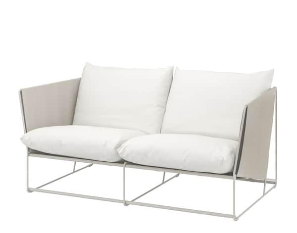 Canapé 2 places moderne en métal et tissu