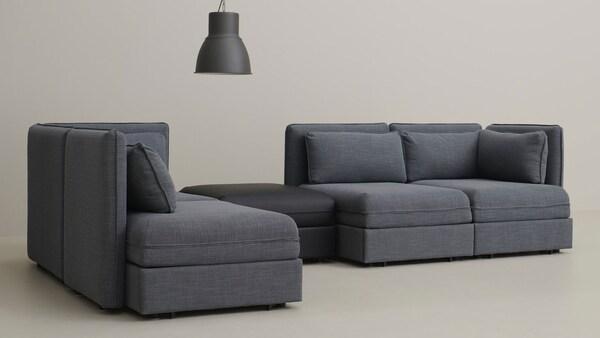 canapé-vallentuna-gris-modules-noir
