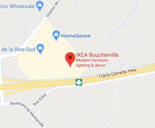 Carte Google Maps du magasin IKEA Boucherville