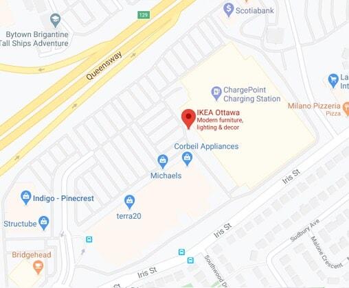 Carte Google Maps du magasin IKEA Ottawa