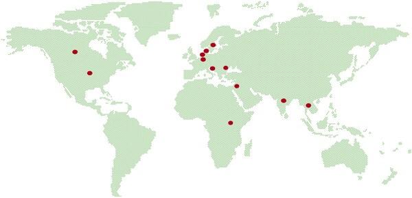 Carte indiquant dans quels pays IKEA travaille avec des entrepreneurs sociaux - Ouganda, Inde, Thailande, Suède, Danemark, Belgique, Pays-Bas, Croatie, Etats-Unis et Canada.
