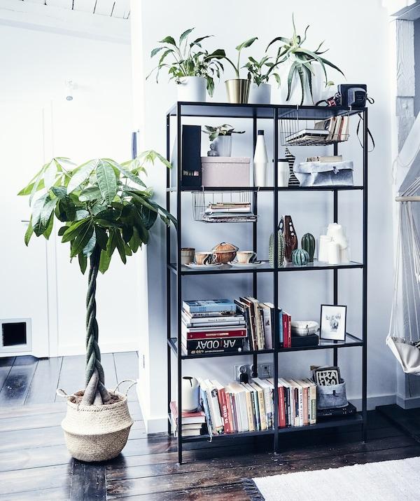 Cărți, plante și ornamente pe o unitate de depozitare deschisă lângă o plantă mare într-un coș de ratan.
