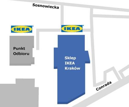 Mapa dojazdu do sklepu IKEA Kraków