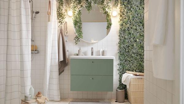 Spa-like bathroom featuring GODMORGON vanity.