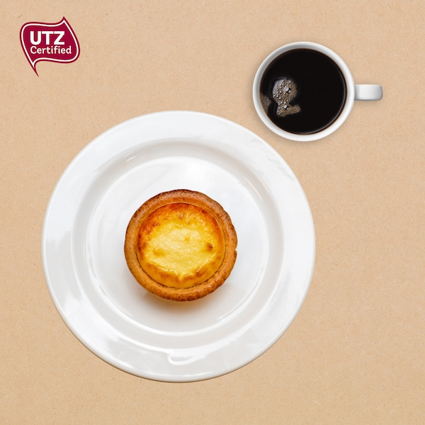 Cheese tart with coffee
