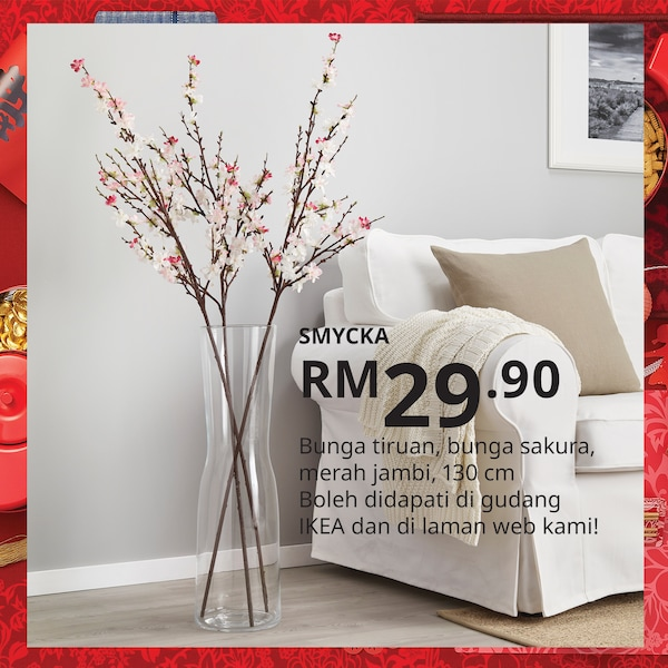 Cherry blossom artificial flower for Chinese New Year decorating, IKEA Home Furnishings Malaysia