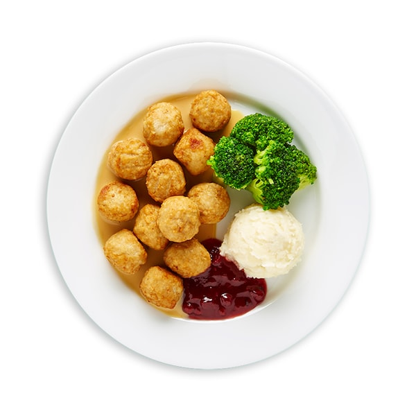 Chicken balls with mashed potato and broccoli