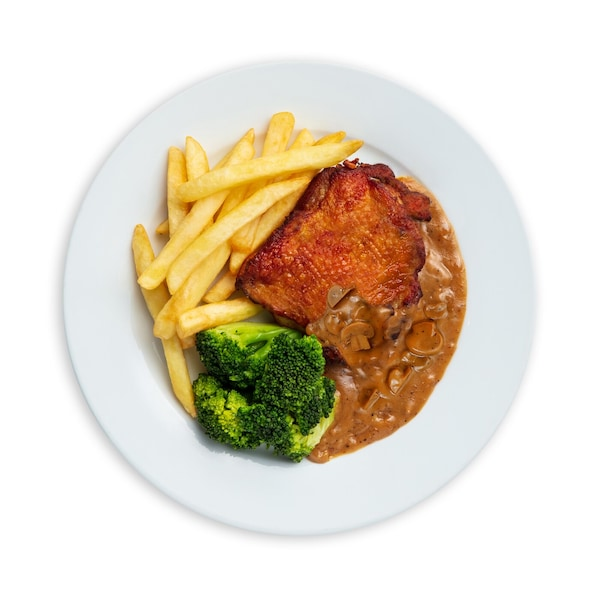 Chicken Chop with Fries, Broccoli & Black Pepper Sauce