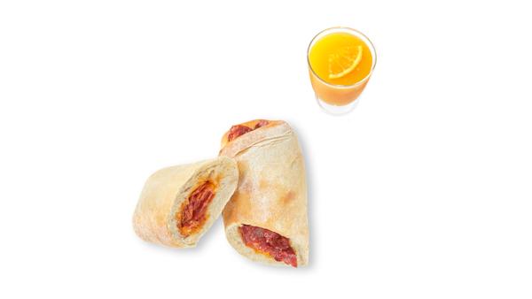 Chorizo bread roll with orange juice