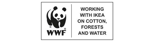 Čierno-biele logo pandy, ktoré symbolizuje spoluprácu WWF a IKEA v oblasti bavlny, pestovania lesov a vody.