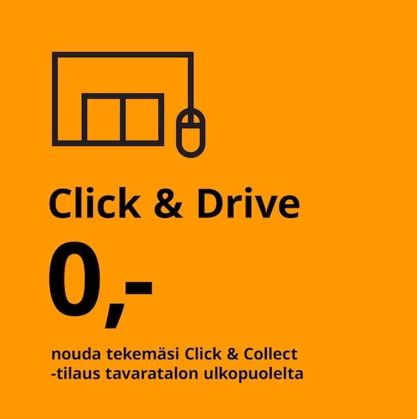 Click & Drive -palvelu, nouda tekemäsi tilaus tavaratalon ulkopuolelta.