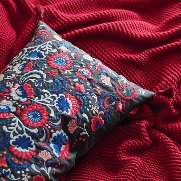 Close up of a blue patterned pillow