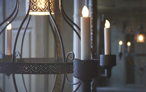 Close-up of a candelabra with LED candles.