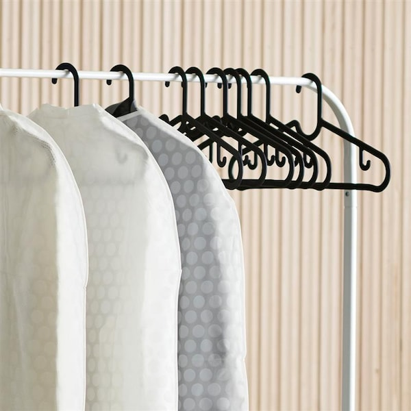 Close up of black hangers in a clothes rack.