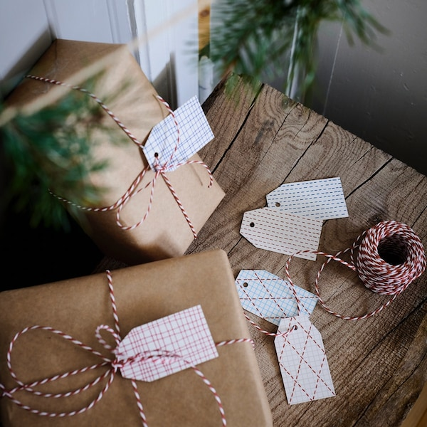 Close up of two wrapped gifts.
