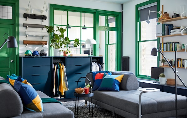 Co-shared living space with IKEA FLOTTEBO dark grey sofa bed and NORDMELA blue dresser storage units.