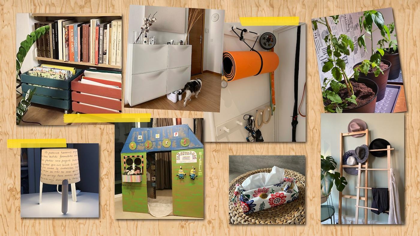 Collage aus 8 Fotos mit unterschiedlichen Einrichtungslösungen von IKEA Mitarbeitern rund um die Themen Aufbewahrung, Dekoration und Spiel.