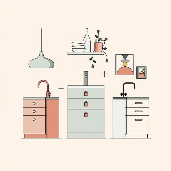 Collage av kjøkkenfronter.