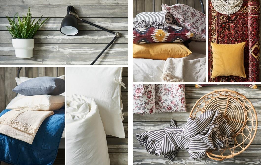 Collage d'images présentant les accessoires d'aménagement intérieur IKEA pour décorer une chambre à coucher en style rustique ou chic boho.