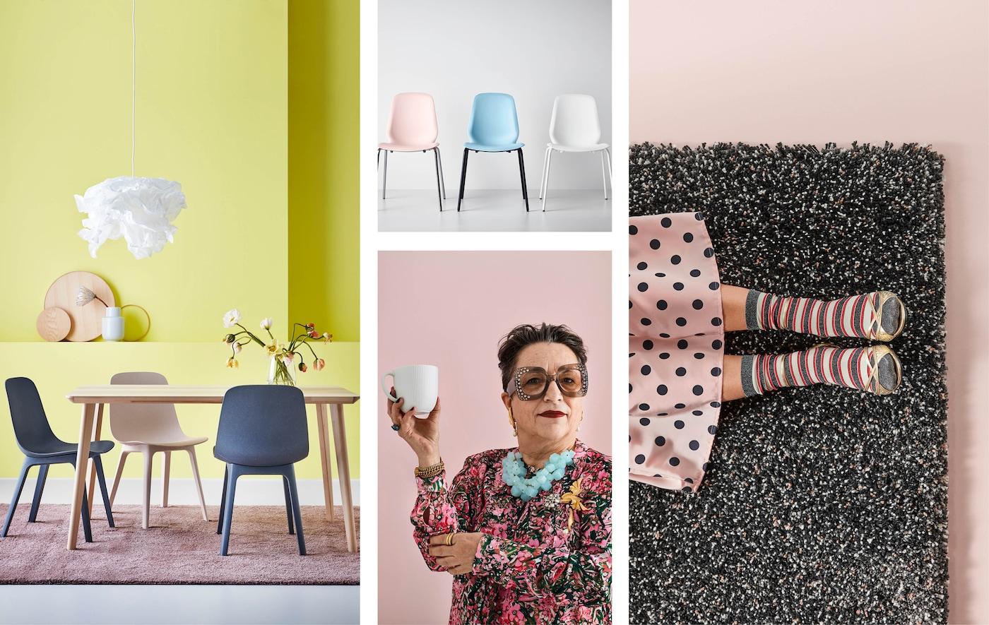 Collage eines Esszimmers mit Stühlen und einer Frau, die eine Tasse und einen Teppich hält. Alle Farben sind in Pastell- und hellen Tönen gehalten.
