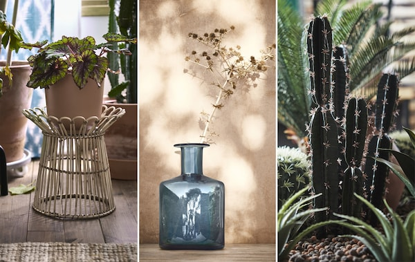 Collage eines Rattan-Blumenständers, einer blauen Vase und einer künstlichen Kaktee.