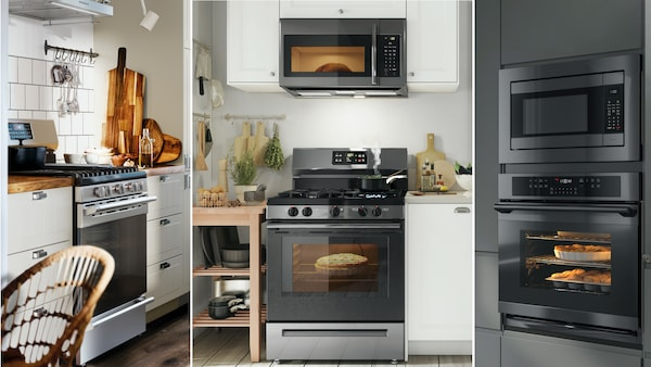 Collage of images showing various range, oven and microwave combinations in 3 different kitchens.