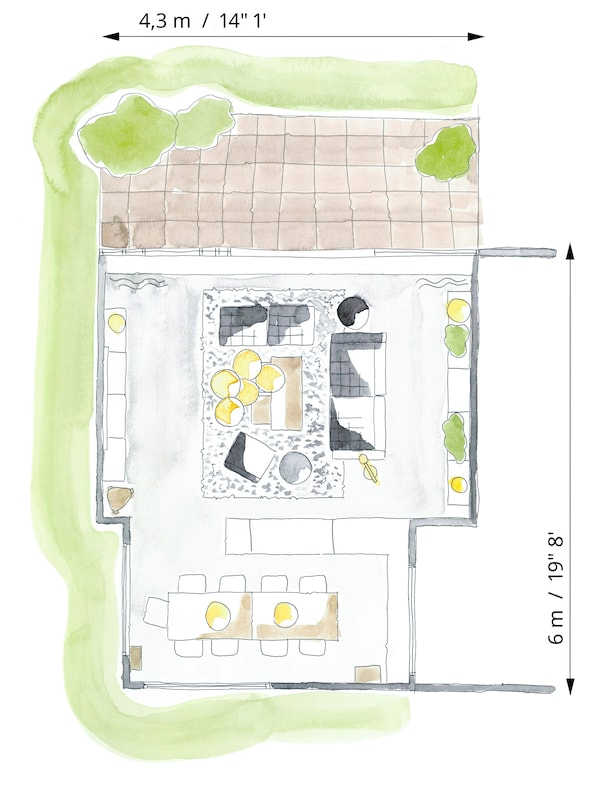 Color floorplan sketch of a living room to show how the furniture is arranged for general, everyday use.