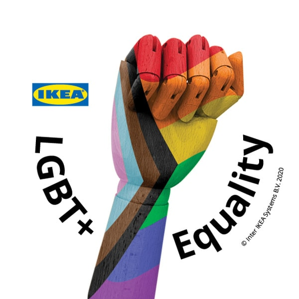 Colorful wooden hand with LGBT+ Equality