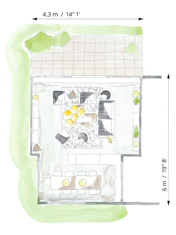 Colour floorplan sketch of a living room to show how the furniture is arranged for comfortable TV viewing.